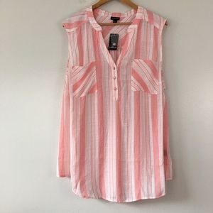 Torrid Striped V-Neck 3/4 Button Pink Blouse 3